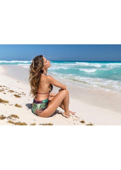 Bi-material high-waist bikini with halter top in coral print - PRAIA DO RECIFE