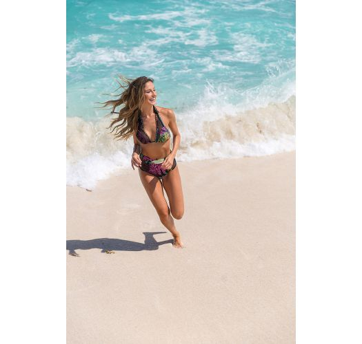 High-Waist-Bikini, Bi-Material, Korallenmotiv - PRAIA DO RECIFE