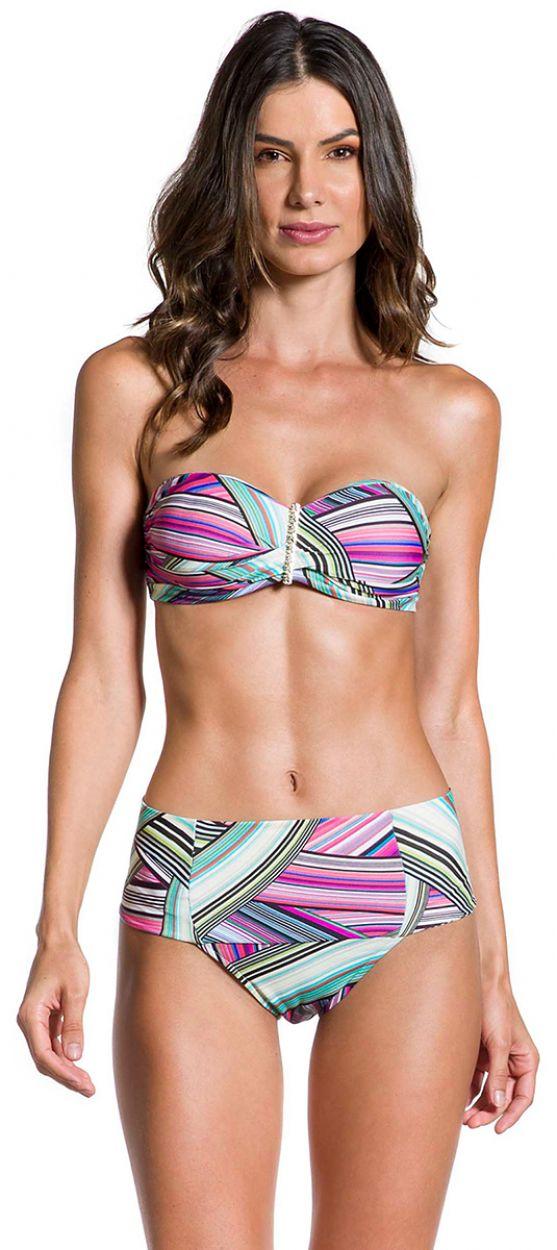 Bandeau bikini med hög midja och grafiskt tryck - PRAIA DO SOL