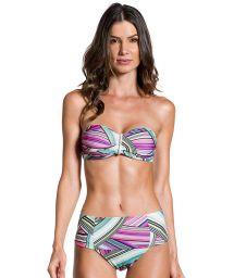 High-waisted bandeau bikini in a graphic print - PRAIA DO SOL