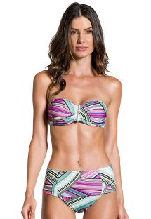 High-waisted bandeau bikini in a graphic print - PRAIA DO SOL