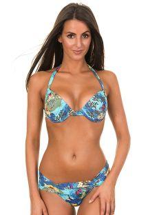 Bikini balconnet bleu motif papillons - PRIMAVERA