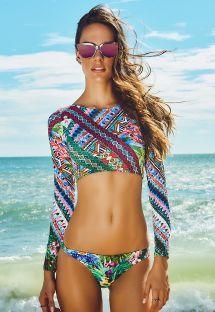 Farvestrålende crop top bikini med lange ærmer - REFUGIO