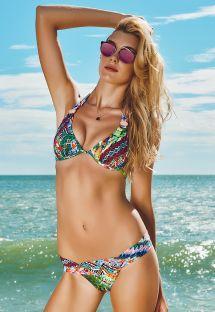 Bikini brésilien bariolé, accessoires nacrés - RIBEIRINHA