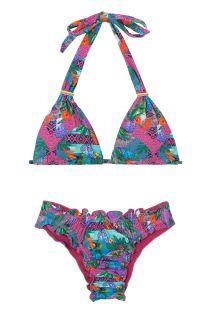 Scrunch bikini with halter top in pink & purple print - ROSA TRIBA