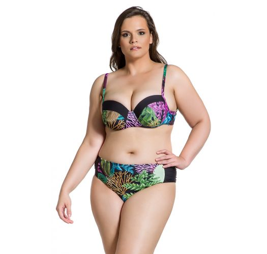 Plus size Brazilian bikini with balconette top in coral & black print - SIMPLES PLANTAS PLUS