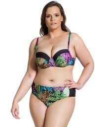 Balconette- bikini, plus- storlek, korallfärgad / svart - SIMPLES PLANTAS PLUS