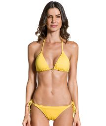 Yellow side-tie scrunch bikini with wavy edges - SOL AMARELO