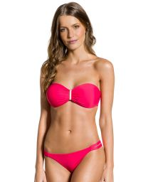 Dark pink fixed bikini with double side and bandeau top - SOL SUNRISE