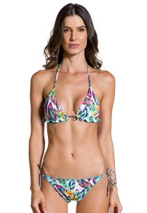 Feather printed side-tie scrunch bikini with wavy edges - SONHOS LIANA