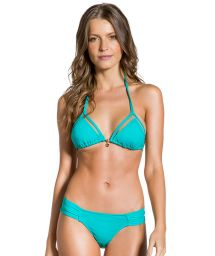 Turquoise pleated larger side bikini - TRANSPARENCY TURQUOISE