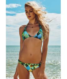 Adjustable green print halter bikini top - TRES COQUEIROS