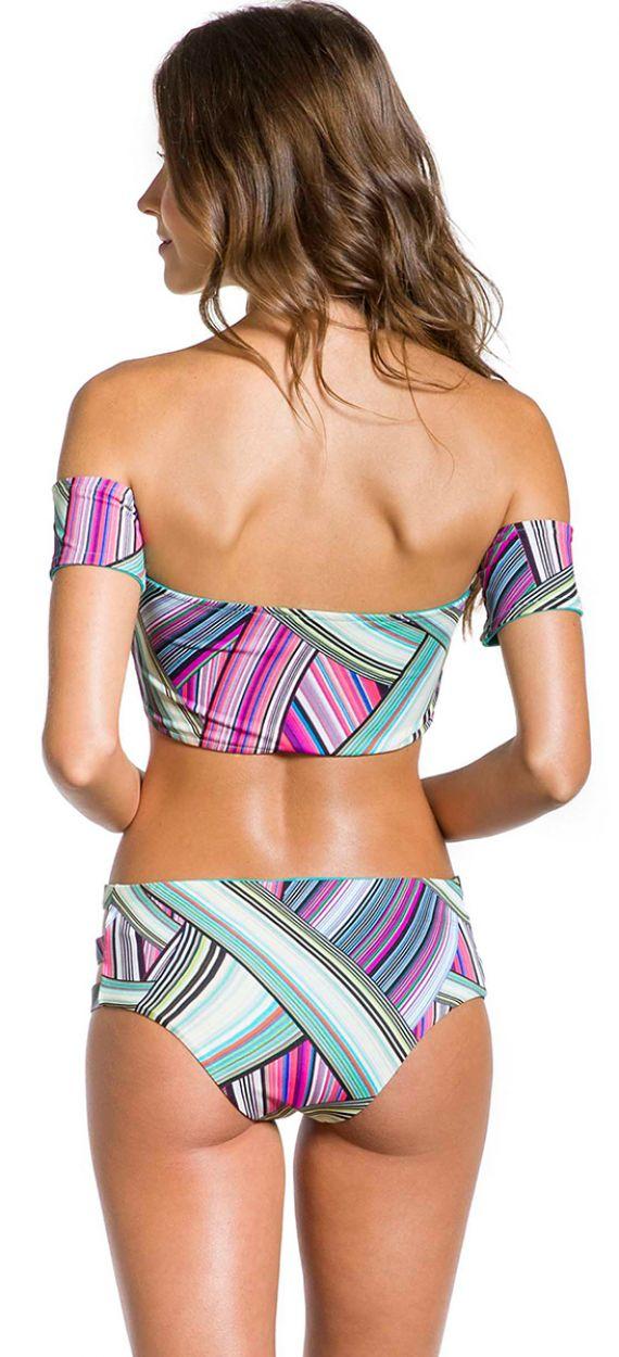Bandeau bikini med grafiskt tryck - VILA DO PORTO