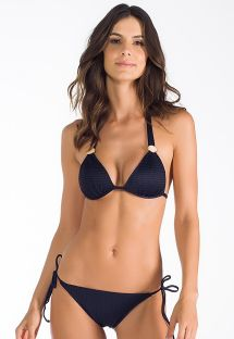 Black textured triangle scarf bikini - WUNAND