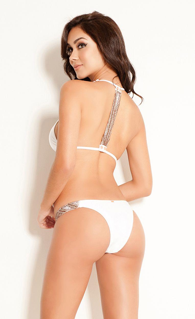 White racer back triangle bikini with beads - ARAFURA BRANCO