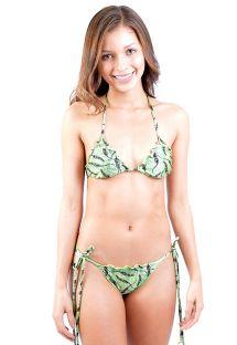 Green tiger print ruched bikini - ARPOADOR TIGRINHO FOLHAGEM