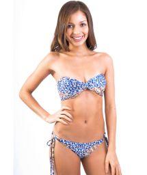 Navy blue printed bandeau swimsuit - BELIZE BUZIOS