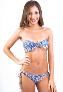 Navy blue printed bandeau swimsuit - BELIZE BUZIOS