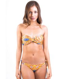 Fun orange-coloured bandeau bikini, scrunch bottom - BELIZE MANDALA AMARELA