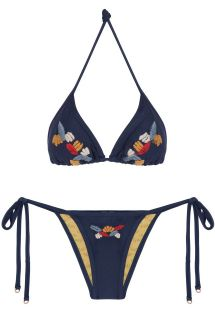 Navy blue triangle bikini with embroidered details - CARAIVA SIDERAL