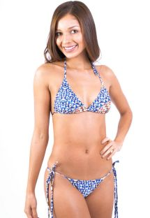 Blue print Brazilian bikini with long ties - ERIKA BUZIOS
