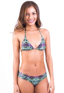 Green/mauve print triangle swimsuit - LUCY BARRADO