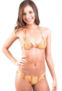 Two-tone orange print triangle bikini - LUCY CORDAS AMARELA
