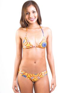 Orange-coloured fun print triangle bikini - LUCY MANDALA AMARELA