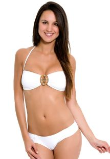 White bandeau-style swimsuit with beaded jewel - EVY MAGESTIC