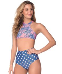 Blue high-waisted bikini with polka dot print and floral crop top - CARNATION LUAU AMERICAN