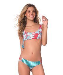 Röd och turkos bh-bikini med blommigt- och randigt tryck - FLORA TURQUOISE GARDEN AMERICAN