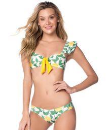 Bra bikini with ruffles sleeves in lemon print - FOLHAGEM LIMON