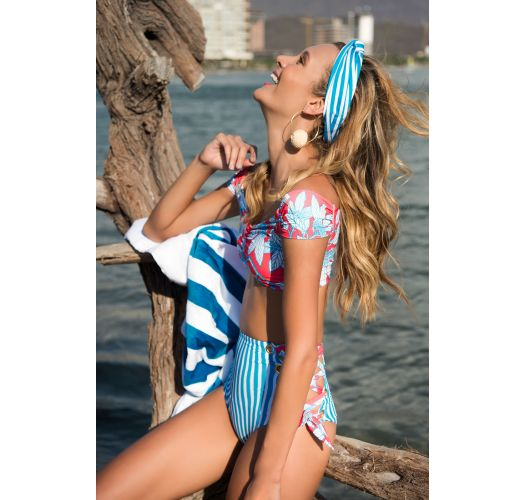 Side-laced high-waisted bikini with crop top and mixed print - HOT TURQUOISE GARDEN AMERICAN