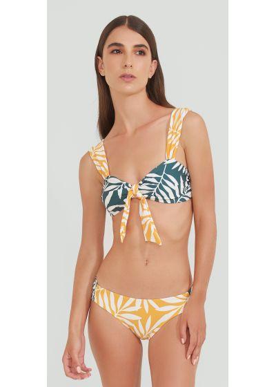 Green and yellow bra bikini in foliage - MANGO JUNGLE VERDE AMARELO