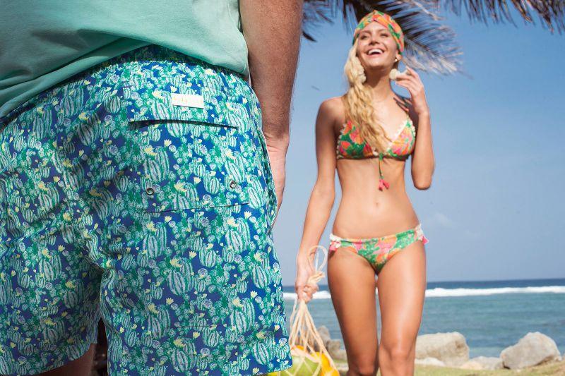 Green/orange coloured tropical Brazilian bikini - MARACA