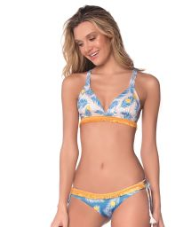 Triangle blue halter bikini with yellow dots and fringed braid - TROPICAL DOTS AMERICAN