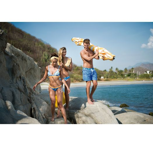 Gelber Bustier-Bikini, Volants, Perlendetail - TROPICAL DOTS LATIN