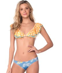 Yellow ruffle bikini with beaded details and blue bottom - TROPICAL DOTS LATIN