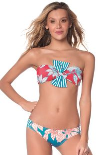 Red and blue leaves print crop top bikini with scrunch bottom - TURQUOISE GARDEN LATIN