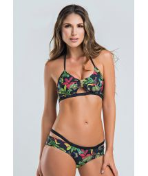 Colombian bra bikini in floral and tropical print - MIDNIGHT FOREST BALCONETTE
