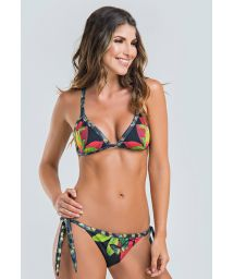 Colombian triangle bikini in floral tropical print - MIDNIGHT FOREST TRIANGLE