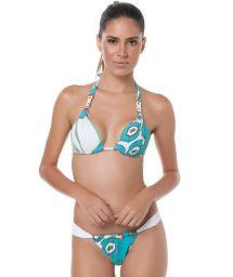 Print soft-pad halter top bikini with adjustable bottom - ATLANTIS