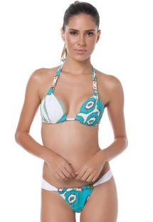 Tryckt mjukvadderad bikini med nackband och justerbar nedredel - ATLANTIS