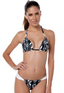 Softly padded halter top bikini in bold black-and-white geometric print - BROOKLYN