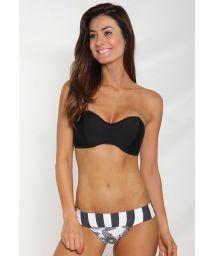 Black bandeau bikini, mixed print bottoms - DRAGAO
