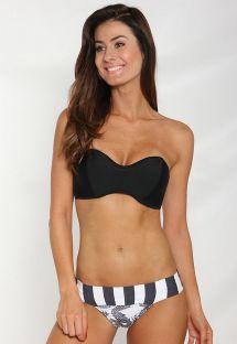 Bikini bandeau negro, parte de abajo con mezcla de estampados - DRAGAO
