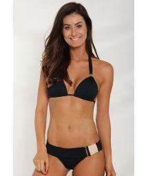 Black Brazilian bikini with unusual waistband - ELEGANCY BLACK