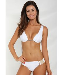 White Brazilian bikini with an unusual waistband - ELEGANCY WHITE
