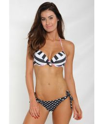 Polka dots and stripes bikini with push-up top - FUNNY PUSH UP