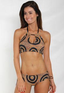 Çift renkli etnik desenli crop top bikini - SISAL
